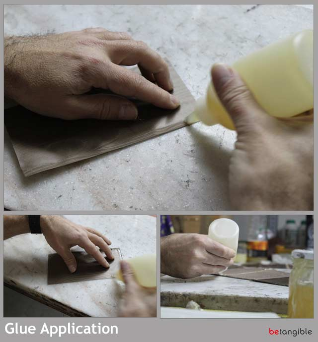 glue application HOW TO make a leather item   Chapter 4: Assembly Process